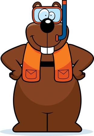 gopher: A cartoon illustration of a gopher wearing snorkeling gear.