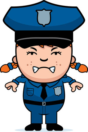 police girl: A cartoon illustration of a police officer girl looking angry.