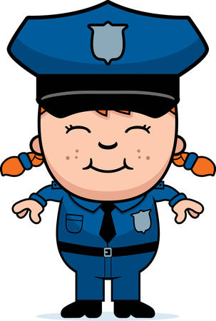 police girl: A cartoon illustration of a police officer girl standing and smiling. Illustration