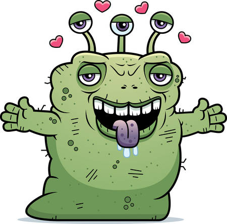 beastly: A cartoon illustration of an ugly alien ready to give a hug.