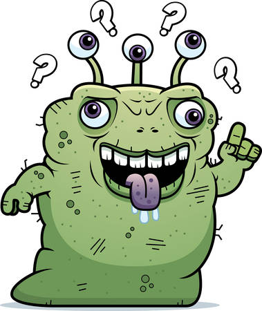 beastly: A cartoon illustration of an ugly alien looking confused. Illustration