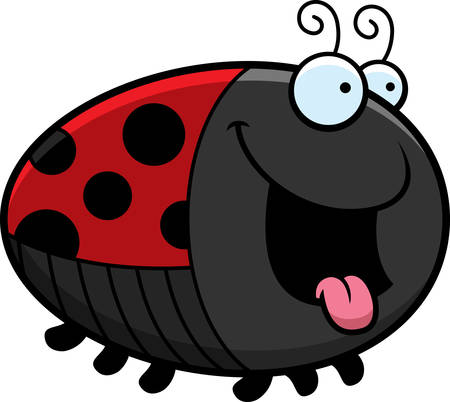 A cartoon illustration of a ladybug looking hungry.