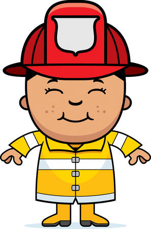 hispanic boys: A cartoon illustration of a firefighter boy standing and smiling.