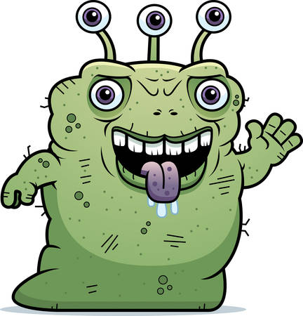 beastly: A cartoon illustration of an ugly alien waving. Illustration