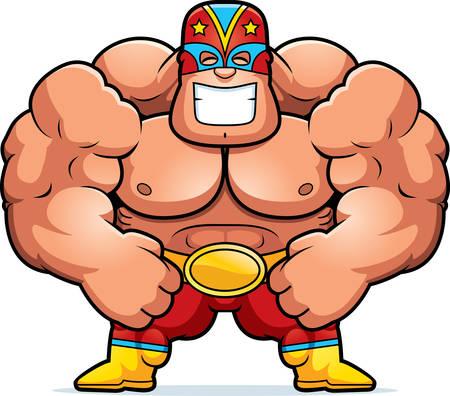 flexing: A cartoon illustration of a luchador flexing.