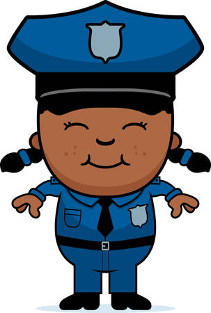 A cartoon illustration of a police officer girl standing and smiling. Illustration