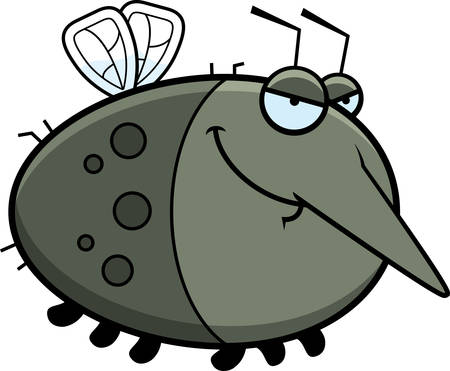 A cartoon illustration of a mosquito with a sly expression.  イラスト・ベクター素材