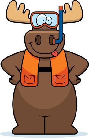 A cartoon illustration of a moose wearing snorkeling gear. 向量圖像