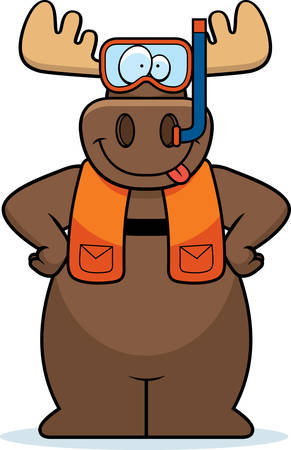A cartoon illustration of a moose wearing snorkeling gear. Stock Illustratie