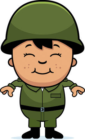 A cartoon illustration of an army soldier boy standing and smiling.