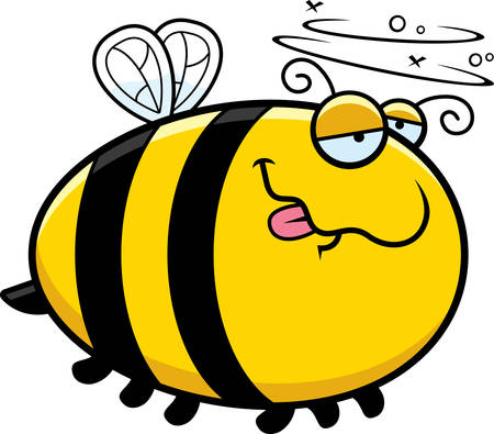 drunk: A cartoon illustration of a bee looking drunk.