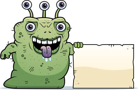 beastly: A cartoon illustration of an ugly alien with a sign.