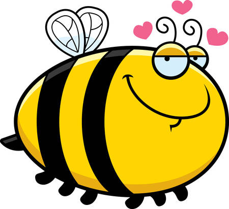 A cartoon illustration of a bee with an in love expression. 矢量图像