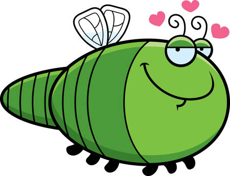 A cartoon illustration of a dragonfly with an in love expression.
