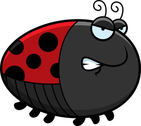 A cartoon illustration of a ladybug with an angry expression.