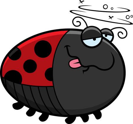 A cartoon illustration of a ladybug looking drunk.