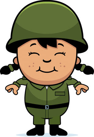 A cartoon illustration of an army soldier girl standing and smiling. 向量圖像