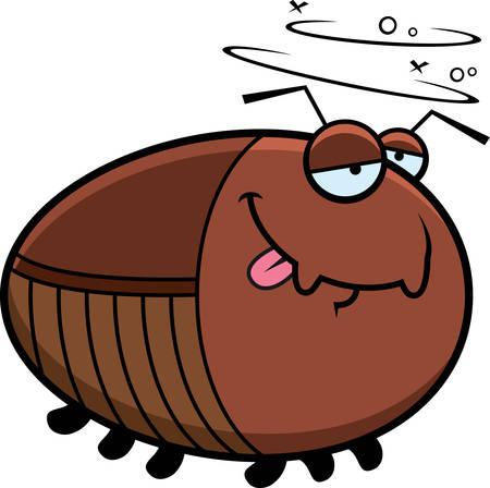 roach: A cartoon illustration of a cockroach looking drunk. Illustration