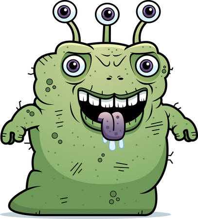 beastly: A cartoon illustration of an ugly alien standing.
