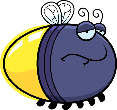 firefly: A cartoon illustration of a firefly with a sad expression.