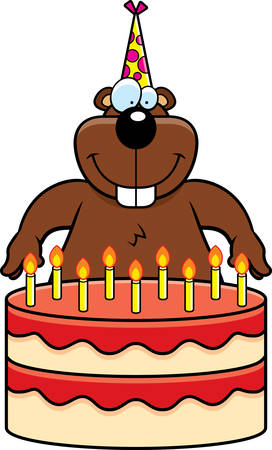 gopher: A cartoon illustration of a gopher with a birthday cake.