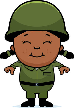 army girl: A cartoon illustration of an army soldier girl standing and smiling. Illustration