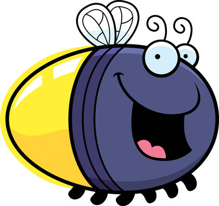 firefly: A cartoon illustration of a firefly smiling. Illustration