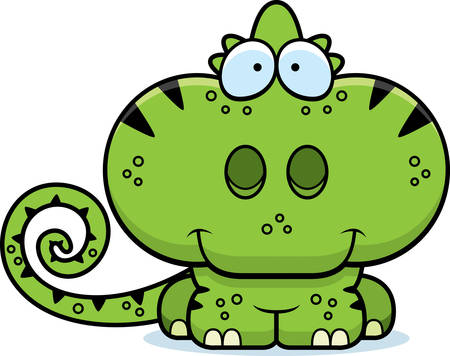 A cartoon illustration of a chameleon happy and smiling.