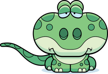 frowning: A cartoon illustration of a gecko with a sad expression.