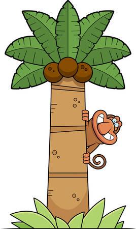 A cartoon illustration of a proboscis monkey in a palm tree.