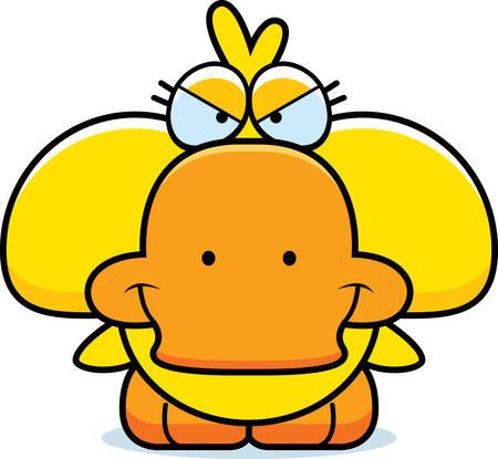 A cartoon illustration of a little duckling with a devious expression. Illusztráció