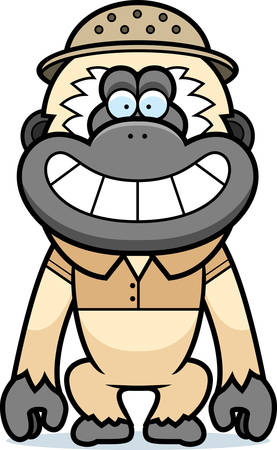 pith: A cartoon illustration of a gibbon in a safari outfit and pith.