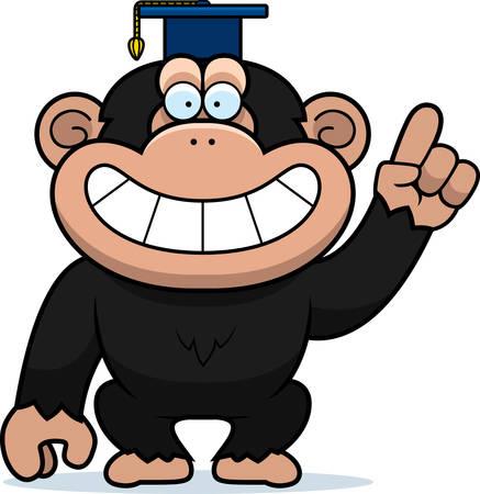 A cartoon illustration of a chimpanzee in a professor cap.