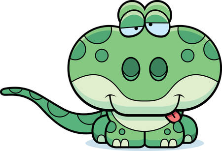goofy: A cartoon illustration of a gecko with a goofy expression.