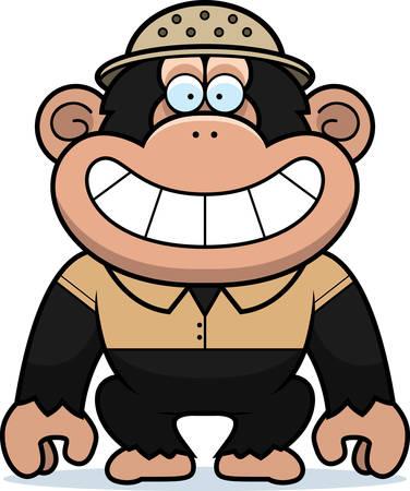 médula: Una ilustración de dibujos animados de un chimpancé en un traje de safari y médula.
