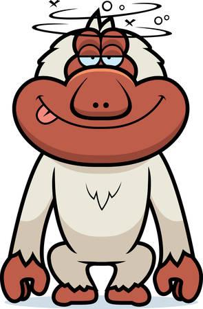 Een cartoon illustratie van een domme Japanse makaak.