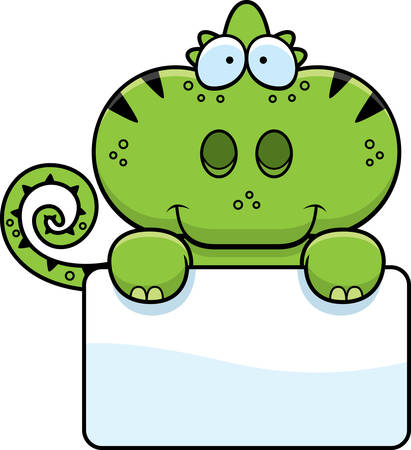 A cartoon illustration of a chameleon with a white sign. 向量圖像