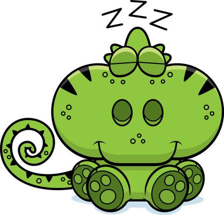 A cartoon illustration of a chameleon taking a nap. Illustration