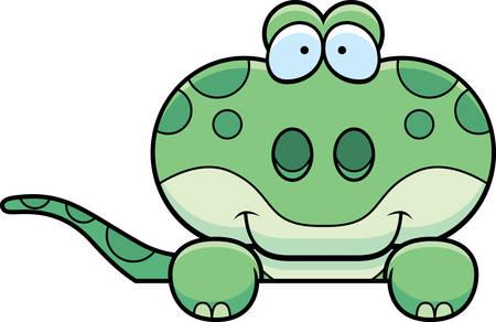 Un fumetto illustrazione di un gecko sbirciare su un oggetto. Archivio Fotografico - 42996159