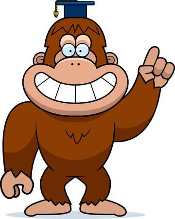 bigfoot: A cartoon illustration of a bigfoot in a professor cap.