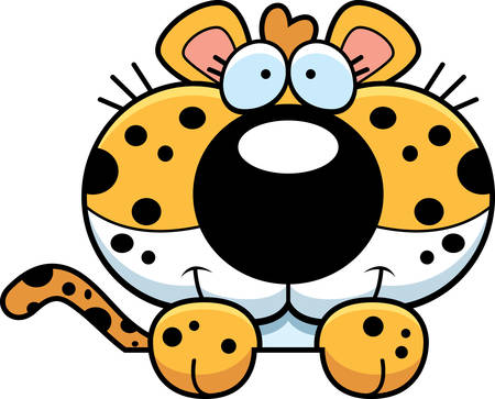 cub: A cartoon illustration of a leopard cub peeking over an object.