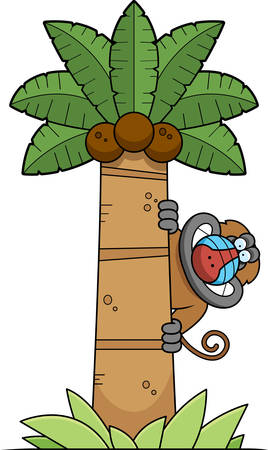mandril: A cartoon illustration of a baboon in a palm tree.