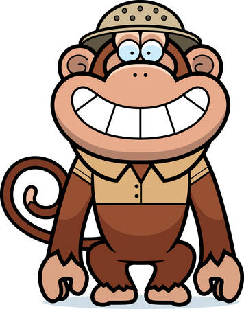 pith: A cartoon illustration of a monkey in a safari outfit and pith.