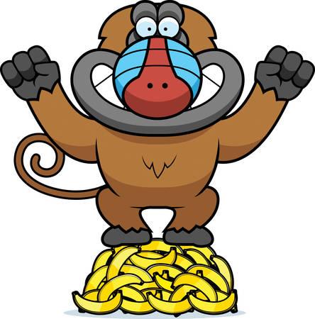 baboon: A cartoon illustration of a baboon on a pile of bananas.