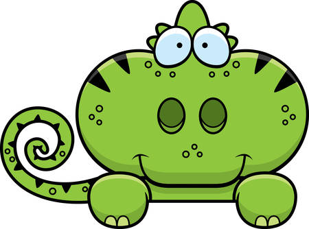 A cartoon illustration of a chameleon peeking over an object.
