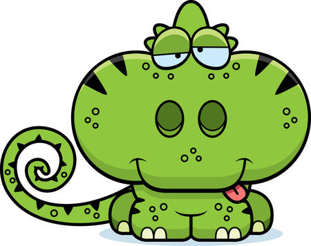 goofy: A cartoon illustration of a chameleon with a goofy expression.