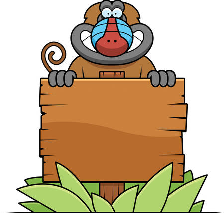 baboon: A cartoon illustration of a baboon with a wooden sign.