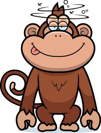 Een cartoon illustratie van een domme aap. Stock Illustratie