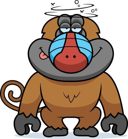 Een cartoon illustratie van een domme baviaan.