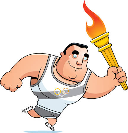 A cartoon sports competition athlete running with the sports competition torch.
